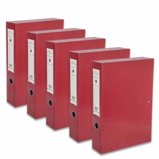 Ryman Premium Box File Foolscap Pack of 5 Burgundy