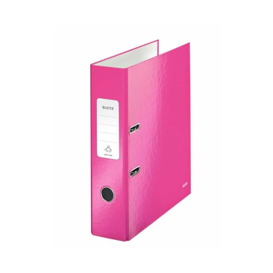 Leitz 180 WOW Laminated A4 Lever Arch File Pink