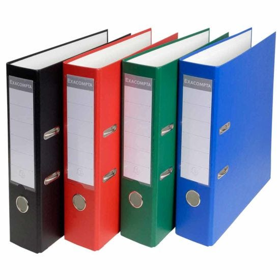 Exacompta Lever Arch File A4 80mm Pack of 20 assorted