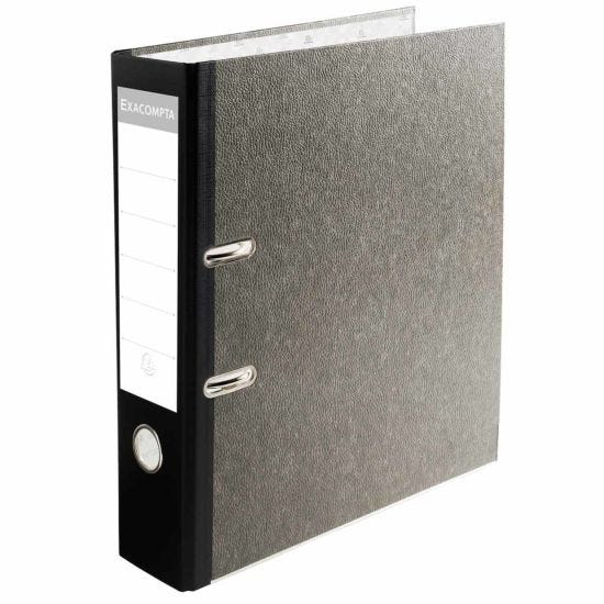 Exacompta PremTouch Lever Arch File A4 Plus 80mm Marbled Grey Pack of 10 Black