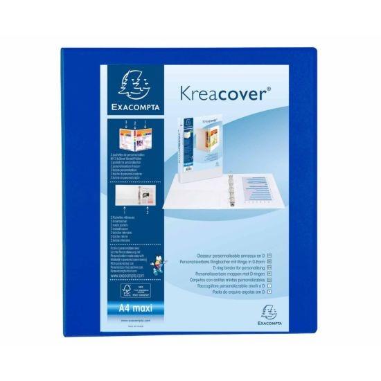 Exacompta Kreacover Ring Binder 4 D Rings 40mm A4 Plus Pack of 10 Blue