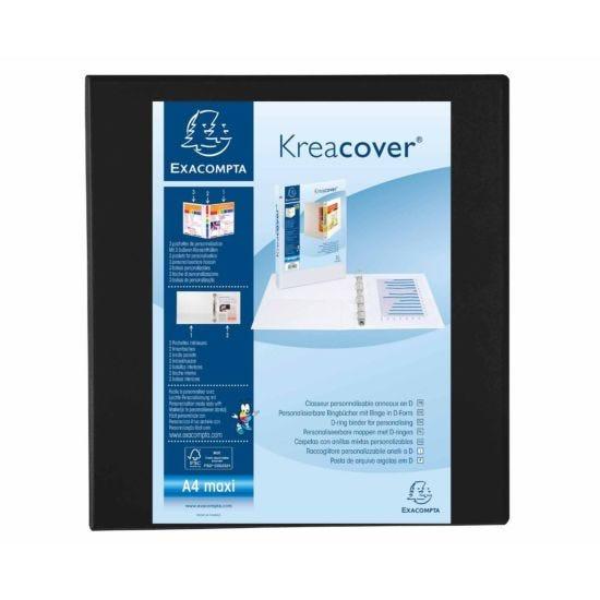 Exacompta Kreacover Ring Binder 4 D Rings 60mm A4 Plus Pack of 10 Black