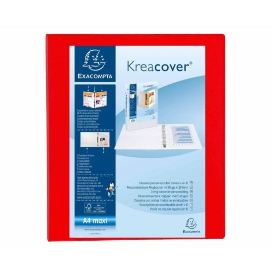 Exacompta Kreacover Ring Binder 4 D Rings 25mm A4 Plus Pack of 10 Red