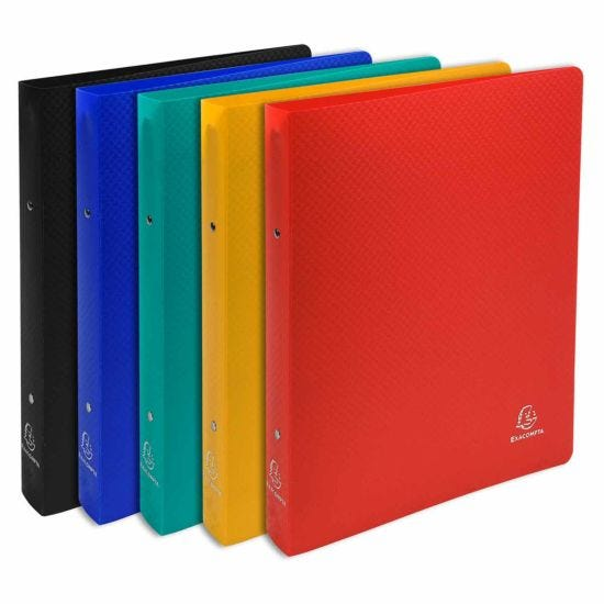 Exacompta Opaque Ring Binder 2 Ring 30mm A4 Plus Pack of 20 5 Assorted Colours