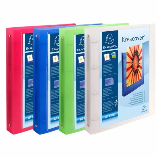 Exacompta  Kreacover Chromaline Ring Binder A4 Plus Pack of 12 Clear Assorted
