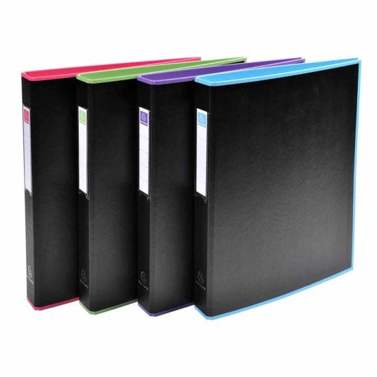Exacompta Black Office Ring Binder 4 Rings 30mm A4 Pack of 10 Assorted