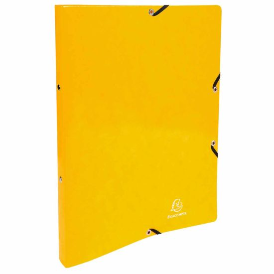 Exacompta Iderama Elasticated Ring Binder 2 Ring 15mm A4 Pack of 20 Yellow