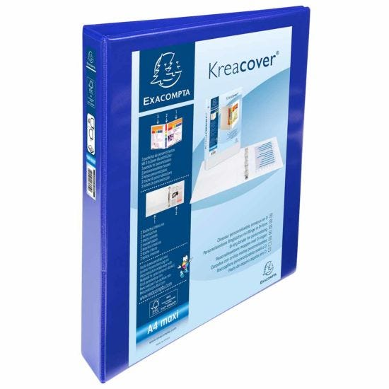 Exacompta Kreacover Personal Ring Binder A4 Plus 4 Rings 30mm 3 Pockets Pack of 10 Blue