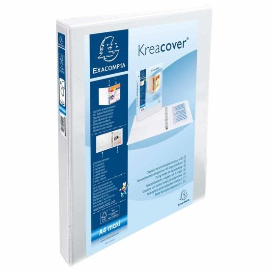 Exacompta Kreacover Personal Ring Binder A4 Plus 4 Rings 20mm 2 Pockets Pack of 10 White