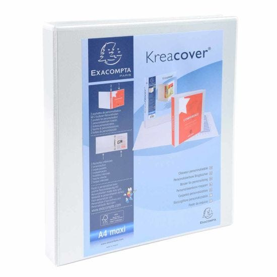 Exacompta Kreacover Personal Ring Binder A4 Plus 4 Rings 16mm 2 Pockets Pack of 10 White