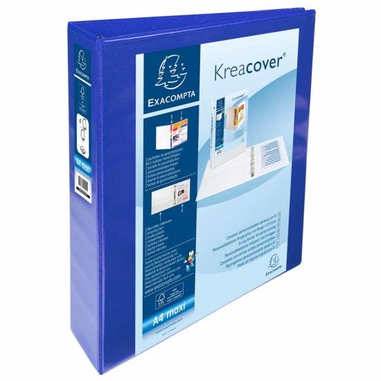 Exacompta Kreacover Personal Ring Binder A4 Plus 4 Rings 40mm 2 Pockets Pack of 10 Blue