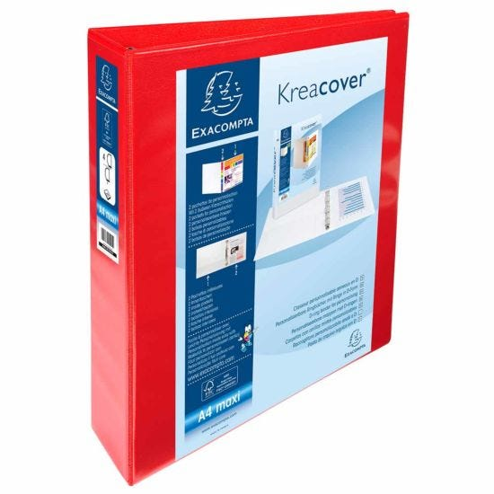 Exacompta Kreacover Personal Ring Binder A4 Plus 4 Rings 40mm 2 Pockets Pack of 10 Red