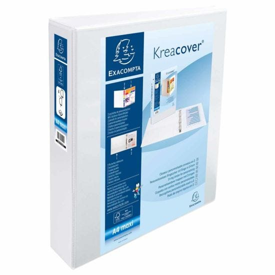 Exacompta Kreacover Personal Ring Binder A4 Plus 4 Rings 50mm 2 Pockets Pack of 10 White
