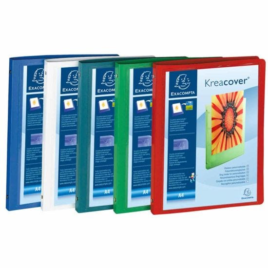 Exacompta Kreacover Opaque Soft Ring Binder A4 4 Rings 15mm 2 Pockets Pack of 5 assorted