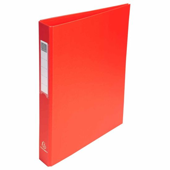Exacompta PP Ring Binder A4 4 Rings 25mm Label on Spine Pack of 10 Red