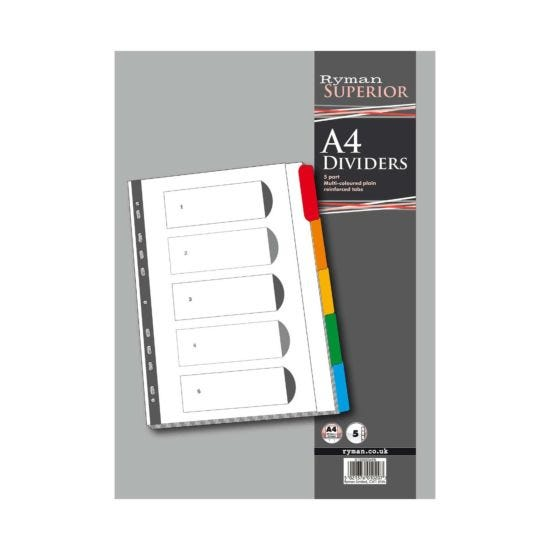 Ryman 5 Part Dividers Indexed Coloured Tab White