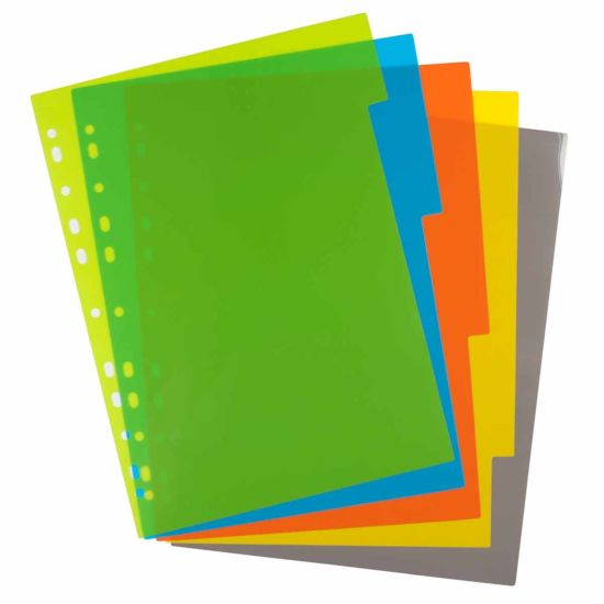 eco eco Index File Dividers A4 Pack of 5
