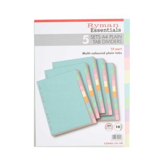 Ryman 10 Part Dividers A4 Plain Pack Of 5 Pastel Colours