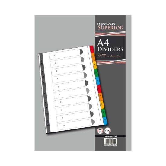 Ryman 1 to 10 Divider A4 Multicoloured