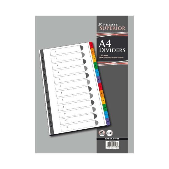 Ryman 1 to 12 Dividers A4 Coloured Tabs