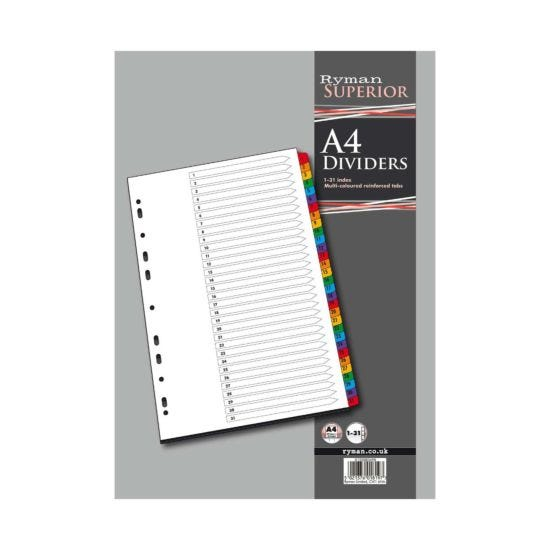 Ryman 1 to 31 Dividers A4 Coloured Tabs