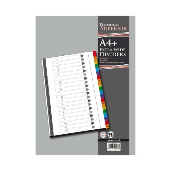Ryman A to Z Dividers A4 Extra Wide Coloured Tabs