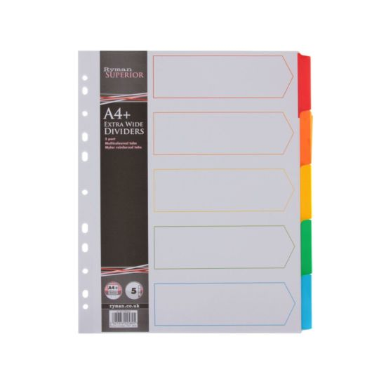 Ryman Coloured Tab Dividers Indexed Extra Wide A4 Pack of 20