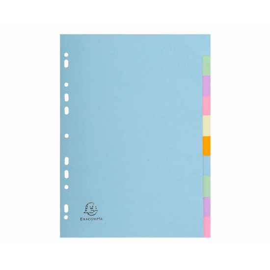 Exacompta Forever Dividers 10 Part A4 170gsm Pack of 25 Pastel