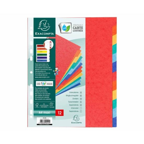 Exacompta Nature Future Dividers 12 Part A4 Plus 225gsm Pack of 10