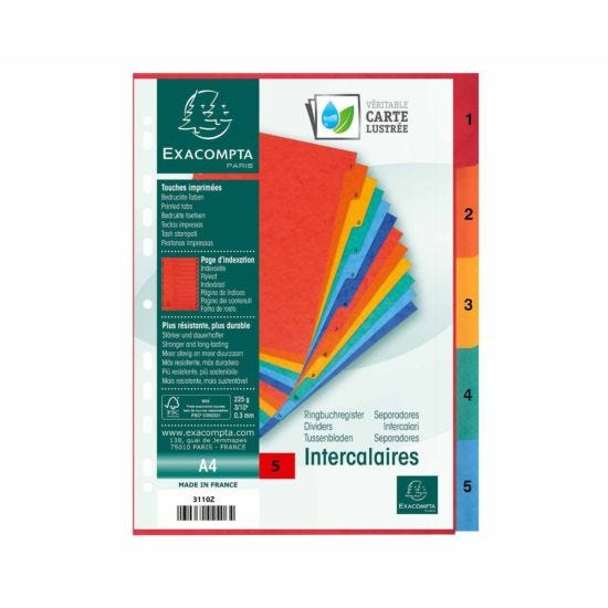 Exacompta Europa Dividers 1-5 A4 225gsm Pack of 20