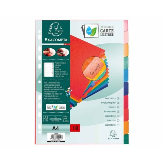Exacompta Pressboard Dividers 10 Section A4 225g Pack of 15