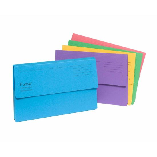 Exacompta Forever Document Wallet Foolscap Pack of 25 300gsm Assorted