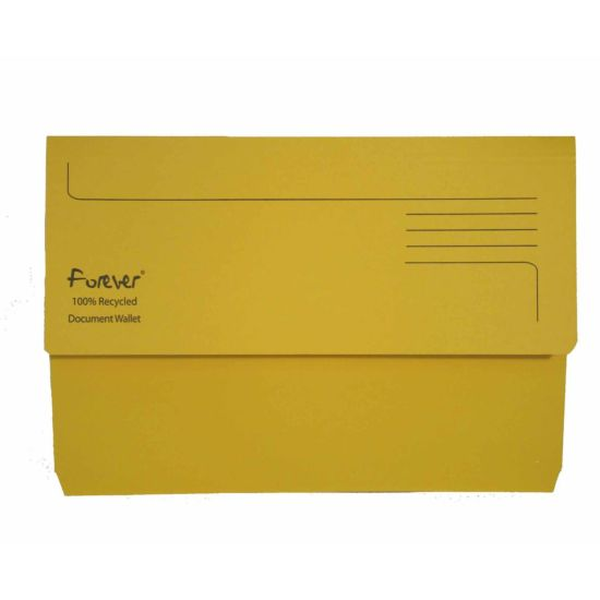 Exacompta Forever Document Wallet Foolscap Pack of 25 300gsm Yellow