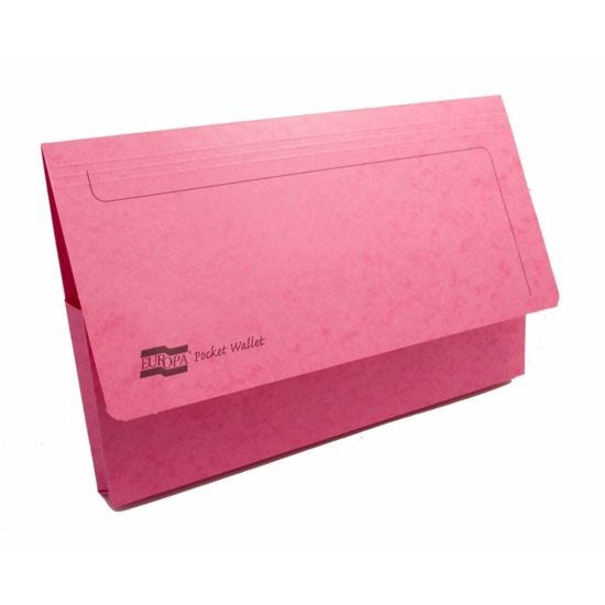 Exacompta Europa Document Wallet Foolscap Pack of 25 265gsm Pink