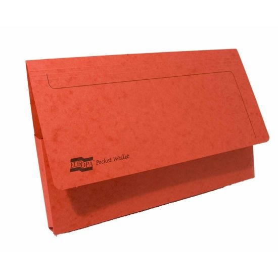 Exacompta Europa Document Wallet Foolscap Pack of 25 265gsm Red
