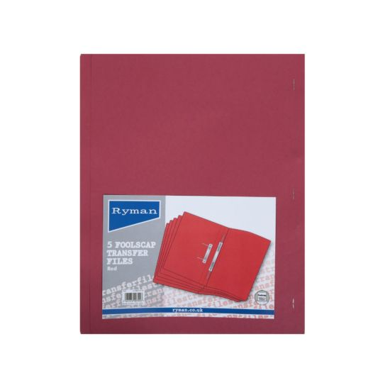 Ryman Spring Transfer Files Foolscap Pack of 5 Red