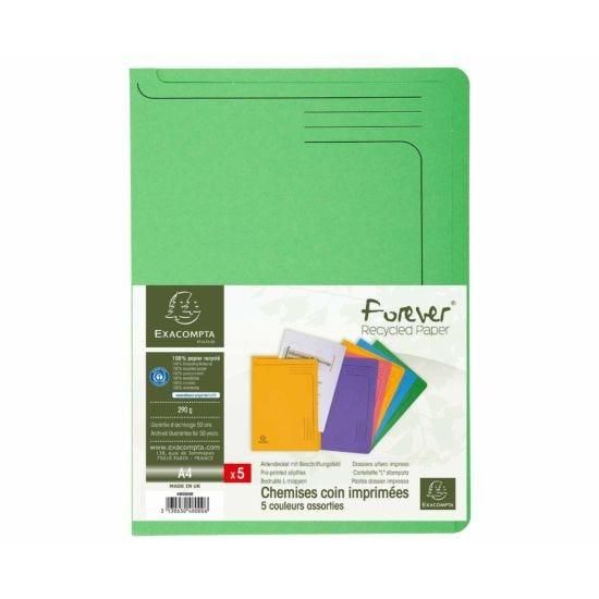 Exacompta Forever Slip File A4 8 Packs of 5 290gsm Assorted
