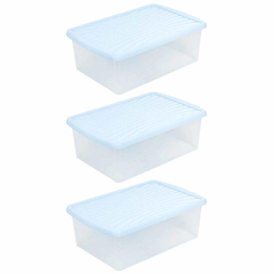 Wham Plastic Storage Box 37 Litres Pack of 3 Blue