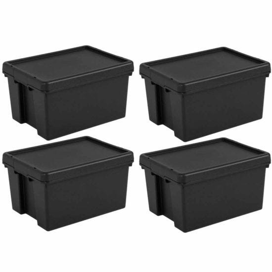Wham Bam Recycled Storage Boxes 16 Litre Pack of 4 Black