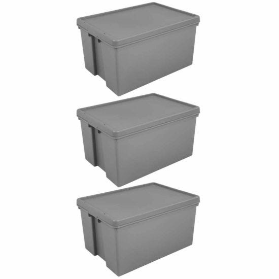 Wham Bam Recycled Storage Boxes 62 Litre Pack of 3 Grey