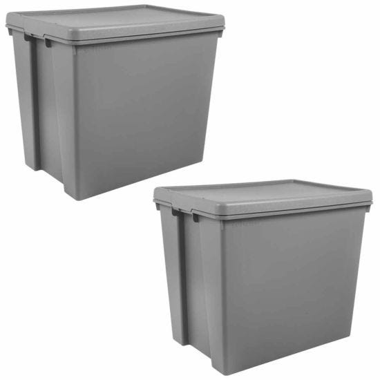 Wham Bam Recycled Storage Boxes 92 Litre Pack of 2 Grey