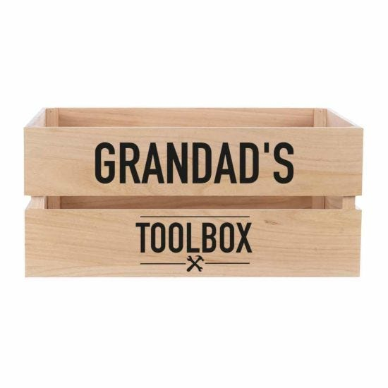Personalised Wooden Crate TOOLBOX Design