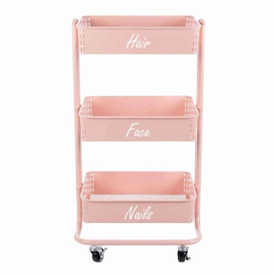 Personalised Ryman 3 Tier Storage Cart Light Pink with White Text