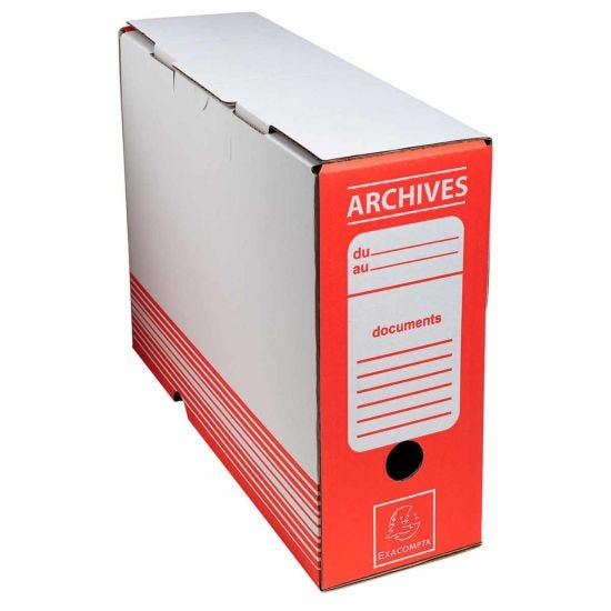 Exacompta Archive Box 100mm Spine Pack of 50 Red