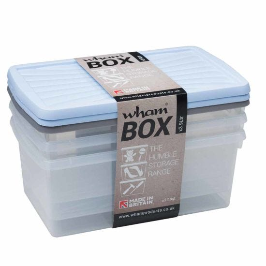 9.0 Litre Wham Box and Lid Pack of 3