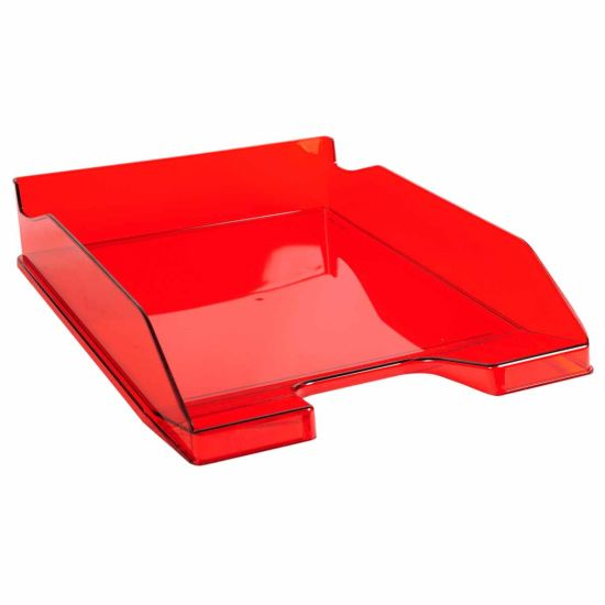 Exacompta Office Letter Tray Midi Combo Pack of 6 Translucent Gloss Red