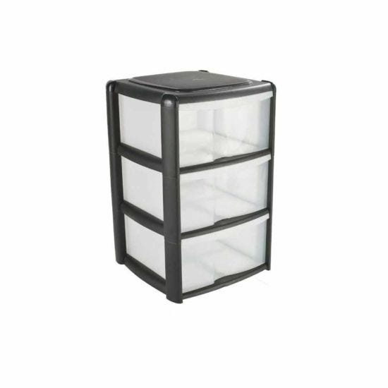 Tontarelli 3 Drawer Tower with Clear Drawers Black