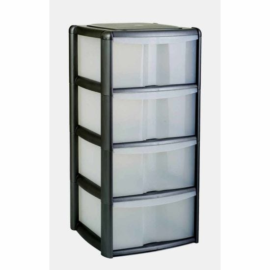 Tontarelli 4 Drawer Tower with Clear Drawers Black