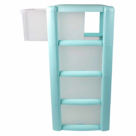 Tontarelli 4 Drawer Tower with Clear Drawers Blush Teal