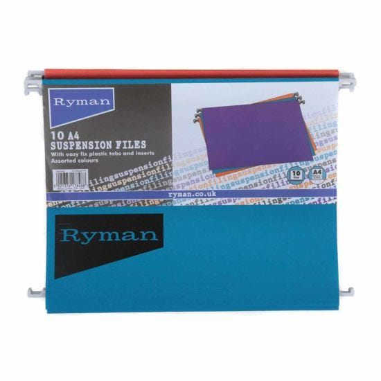 Ryman Office A4 Suspension Files Pack of 50 Assorted Colours